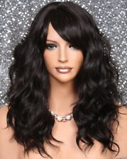 Human Hair Blend Wig Long Darkest Brown Wavy HEAT SAFE w. bangs MAR 2