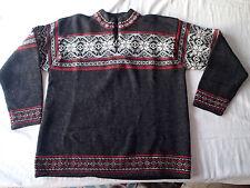 nordic design  sweater sz L,wool  CHARCOAL 1/4 1/2 ZIP SNOWFLAKE A