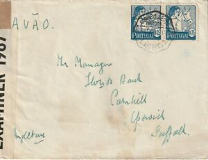 1942 Portugal WWII censored cover sent from Lisboa to Cornhill,Ipswich,Suffolk