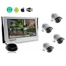 "Wireless 4 Caméras videosurveillance IP sans fil blanc + NVR Ecran 10.1"" HD"