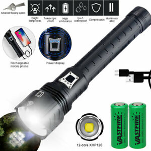 Powerful Flashlight XHP90 XHP120 P160 LED USB Rechargeable Zoom Torch Spotlight