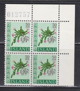 FLWR435 - FLOWER STAMPS 1968 ICELAND PLATE BLOCK FLORA MNH
