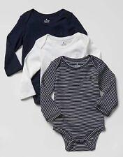 Baby Gap Boy Favorite Stripe Bodysuit 3 Pack Long Sleeve Blue White 3-6 Months