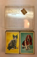 Vtg Mid-Century OLYMPIA Pinochle Game Playing Cards BASSET HOUND DOG & TIGER CAT
