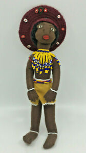 African Musical Wenco Design Doll IPI Tombi Hand Crafted Beaded Brown Felt Older