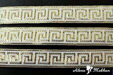 "5 yards 7/8"" Gold Greek Key On White Background Woven Grosgrain Ribbon"