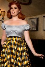 Pinup Couture Gray Peasant Top, Small, NWOT