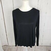New INC Ribbed Long Sleeve T Shirt Top Women's Plus Size 1X Black NWT