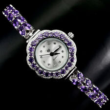 Marquise Amethyst 6x3mm Cz 14K White Gold Plate 925 Sterling Silver Watch 9 Ins
