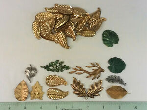36BRASS LEAF STAMPINGS, ASSORTED- FOR JEWELRY & CRAFTING- MADE IN USA