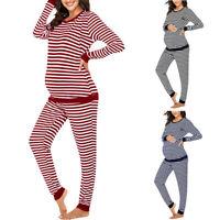2PCS Women Pregnancy Maternity Nursing Long Sleeve Tops Stripe Pants Pajama Set