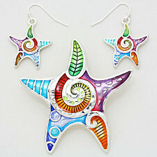 Starfish Pendant Earrings Solid Metal SILVER MULTI Funky SeaLife Beach Jewelry