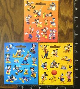 MICKEY & MINNIE MOUSE, DONALD DAISY PLUTO GOOFY, 3 LITTLE SHEETS STICKERS #MICK3