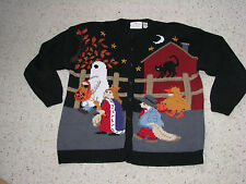 COUNTRYSIDE CLASSICS HAND KNITTED KNIT SWEATER WOMEN'S 1X CARDIGAN HALLOWEEN