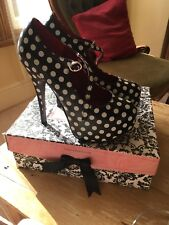 Bordello Teeze Burlesque Platform Stiletto High Heels UK 4.5 / 5 US 7 Polka Dots