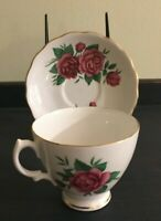 Royal Vale Bone China Floral Pink Rose Tea Cup & Saucer Made in England Footed