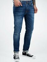 Nudie Herren Slim Skinny Fit Röhren Stretch Jeans - Tape Ted Wavy Indigo