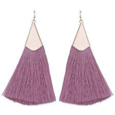 Vintage Women Bohemian Triangle Long Tassel Dangle Statement Earrings Jewelry