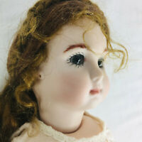 Antique reproduction doll bisque composition mohair wig silk dress jointed K
