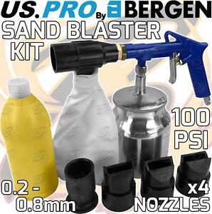 BERGEN Air Shot Sand Blaster Body Shop Blasting Kit With Grit & Nozzles 100psi
