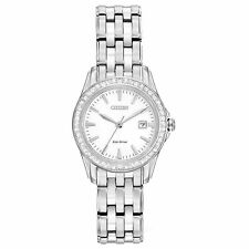Ladies Citizen Eco-Drive Stainless Steel Swarovski Crystal Watch Date EW1901-58A