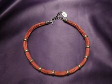 Chan Luu Red Leather & Silver Tone Necklace Vintage Designer