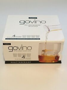 Govino - 14 oz. Whiskey Glass Top Rack, Dishwasher Safe Shatterproof - 4 Pack