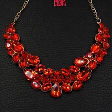 Betsey Johnson Charm Red Crystal Rhinestone Pendant Chain Choker Chunky Necklace