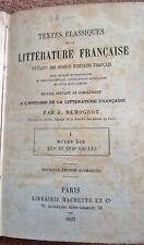 Antique French Book 1892 Histoire De La Litterature Francaise J Demogeot 1800s