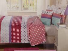 3 pc Kids Expressions Polka Dot / Plaid Twin Quilt, Sham & Deco Pillow Set Nip