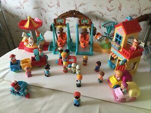 Happyland Toy Bundle Play AREA WITH TRAIN & Tea Shop/Vans/ Ice Cream Van/figures