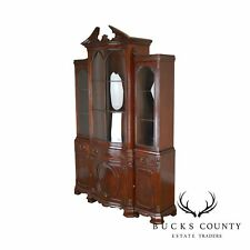Georgian Style Custom Flame Mahogany Library Bookcase Breakfront Cabinet