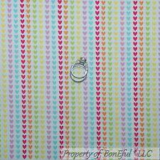 BonEful Fabric FQ Cotton Quilt White Rainbow Pink Heart Candy Valentine S Stripe