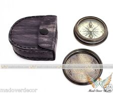 MARINE SOLID  BRASS BOY SCOUTS ROBERT FROST POEM COMPASS WITH LEATHER COVER