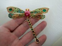 Vintage Joan Rivers Plique A Jour Large Dragonfly Insect Rhinestone Brooch Pin