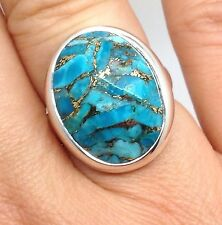 Mohave turquoise solid Sterling Silver ring, UK size N, oval, new, Faceted.