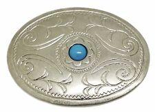 American Western Fibbia della Cintura Blue Stone Design COWBOY SCERIFFO liscia finitura opaca