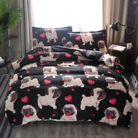 Pug Puppy Dog Duvet Quilt Cover Set Animal Bedding Set Cartoon Comforter Cover