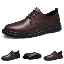Men's Retro Work Business Leisure Leather Shoes Lace up Oxfords Non-slip Casual