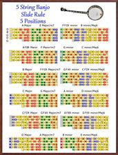 5 STRING BANJO SLIDE RULE CHART - 5 POSITIONS - IMPROVISE