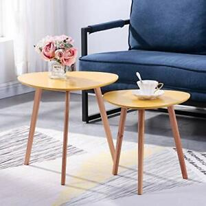 Coffee Table Set of 2 | Beech Side Sofa Tables, (48x48x45cm & 40x40x40cm)
