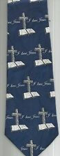 I LOVE JESUS NECK TIE BLUE BIBLE CROSS FREE SHIPPING RELIGIOUS CHRISTIAN