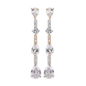 18K Yellow Gold Diamond white crystal Dangle Drop Earrings 266