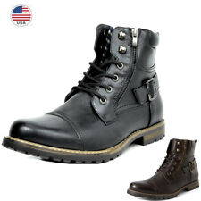 Men Military Motorcycle Combat Riding Ankle Leather Brogue Nonslip Boots Shoe US