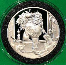 Seasons Greetings Santa Down Chimney Proof Coin 1 Troy Oz .999 Fine Silver Round
