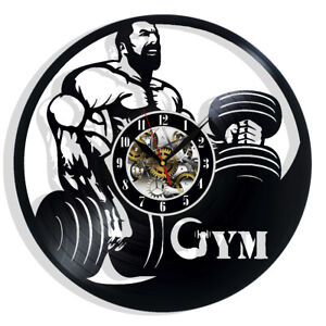 Gym Vinyl Wall Clock Record Gift Decor Sign Feast Day Art Birthday Fans