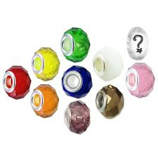 Beads and Charms for European Charm Bracelets Large Hole Faceted Glass Rainbow