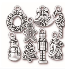 TierraCast Christmas Charm Mix, Antiqued Silver Plate - 8 charms