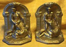 Antique 1920 Geo C.K. Co. Art Deco BOOKENDS Nude Male Men Greco Roman Wrestlers