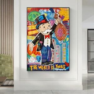 Alec Monopoly Graffiti Art Money Paintings on The Wall Art Canvas Posters Print